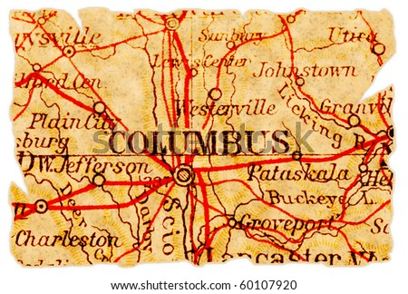 columbus  ohio on an old torn...