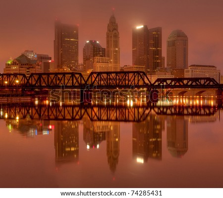 Columbus, Ohio Skyline overlooking the Scioto River at Sunrise