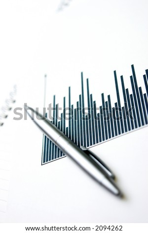 Column graph & silver pen - shallow depth of focus, grain on the graph columns is due to the print on paper