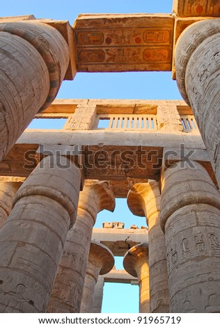 Column in hypostyle hall in Karnak temple, Egypt