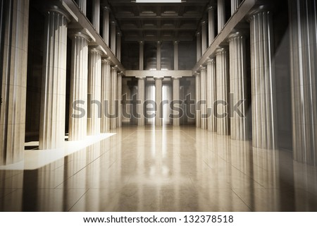 Column interior empty room, law or government background concept
