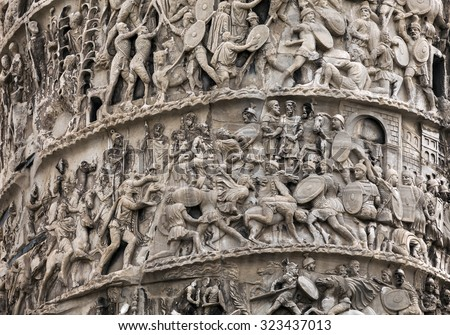 Column of Marcus Aurelius was erected in AD 180 to commemorate his victories over the barbarian tribes of the Danube. The 20 spirals of the low relief chronicle the German and the Sarmatic wars. #323437013