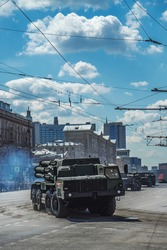 column of military equipment at the parade 2020 in Moscow