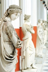 Column of Muses in Achillion palace, Corfu, Greece
