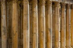Column of  temple of Jupiter in Baalbek UNESCO World Heritage Site, Lebanon.
