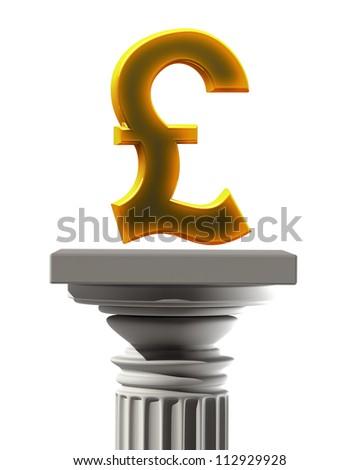 Column Pedestal British pound symbol isolated on white background High resolution 3D