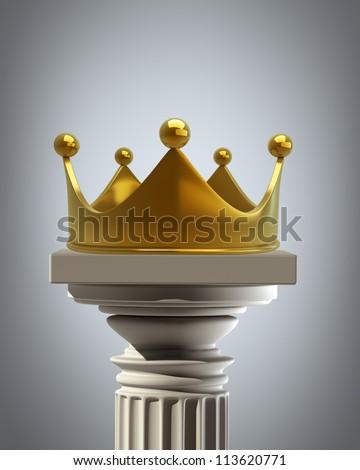 Column Pedestal with golden crown High resolution 3D - stock photo