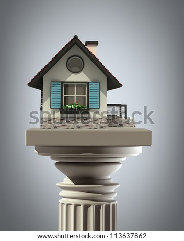 Column Pedestal with House High resolution 3D - stock photo