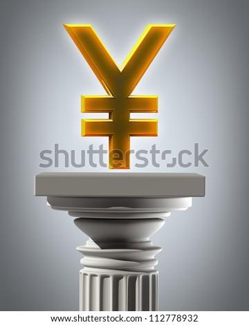 Column Pedestal with Indian rupee symbol High resolution 3D