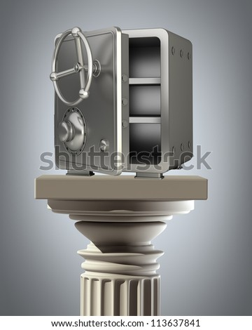 Column Pedestal with steel bank safe High resolution 3D
