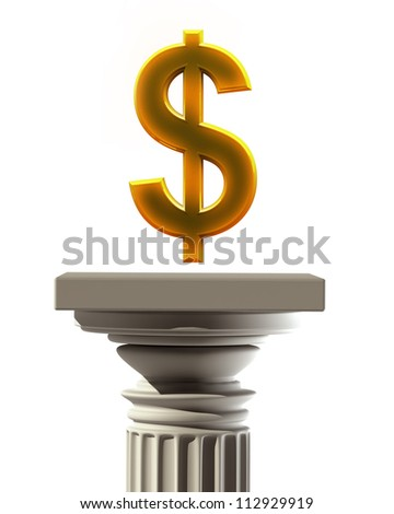 Column Pedestal with US dollar  symbol isolated on white background High resolution 3D