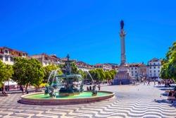 Column Pedro IV Fountain Rossio Square Lisbon Portugal.  Rossio Square is main meeting spot in Lisbon.