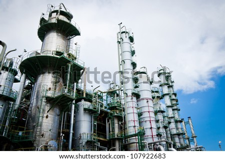 Column tower in petrochemical plant and blue sky