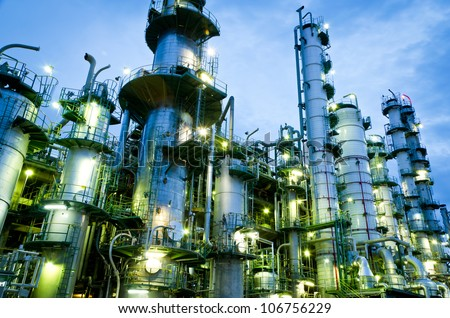 Shutterstock Column tower in petrochemical plant at twilight