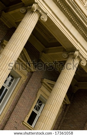 Columned entry to brick college building