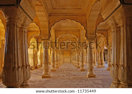 Columned hall of a Amber fort. Jaipur, India