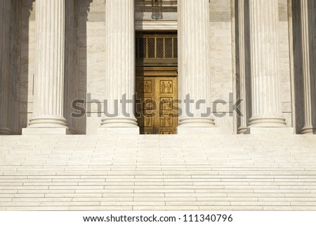 Columns and door of the Supreme Court building in Washington DC