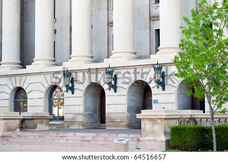 Columns and entrance to the weld county court house in Greeley, Colorado USA. - stock photo