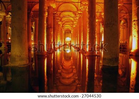 Columns and light in Yerebatan Saray, Istanbul - stock photo