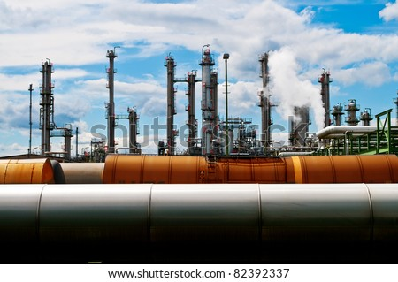 Columns and pipes of a chemical plant
