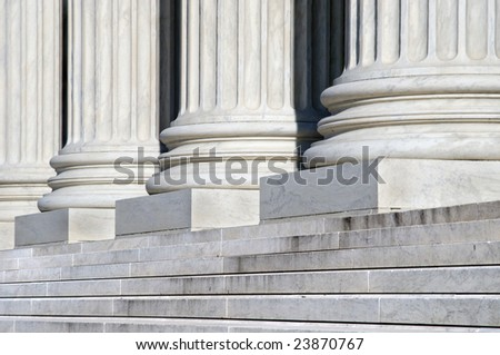 Columns and Stairs of the United States Supreme Court Building in Washington DC