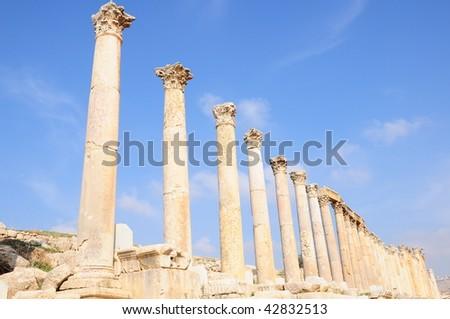 columns at Jerash in Jordan - stock photo