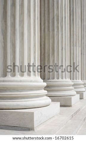 Columns at the front portico of the United States Supreme Court in Washington, DC.