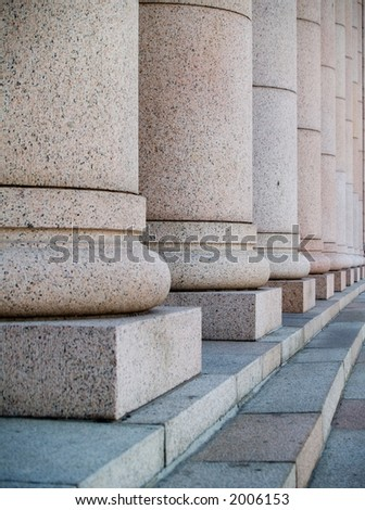 Columns at the houses of parliament in Helsinki, Finland