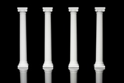 Columns. Classical Greek Ionic Columns. White Pillars on Black Background. Architectural White Classical Columns Pillars Wedding Cake Decoration or Wedding Invitations. Classical architectural Pillars