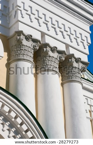 Columns in an ancient orthodox monastery constructed in a XVII-th century.