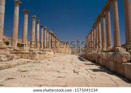 Columns in Ancient Ruins in the ancient city of Jerash