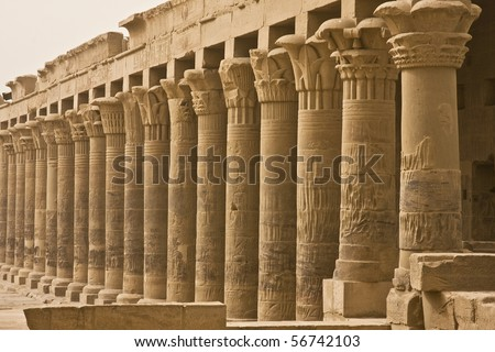 Columns in the Philae temple in Aswan, Egypt