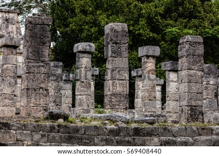 Columns in the Temple of a Thousand Warriors at the Chichen Itza archaeological area in Yucatan, Mexico. #569408440