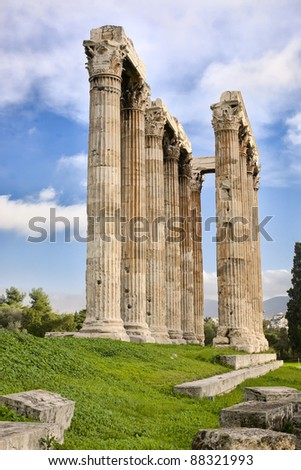 Columns of Ancient Greek Temple of Zeus in Athens, Greece