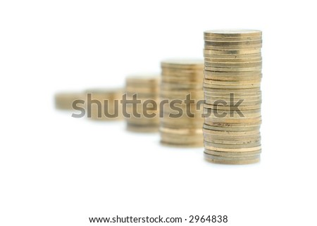 Columns of coins against white background
