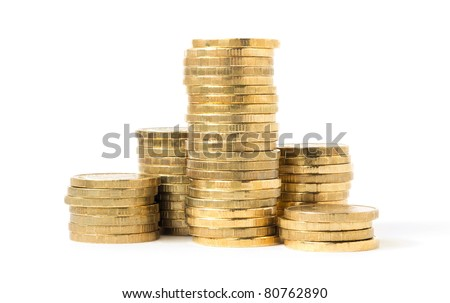 columns of coins isolated on white background