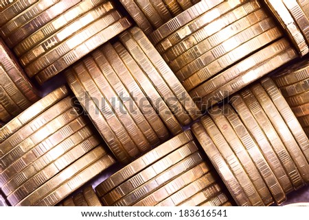 Columns of gold coins.Macro