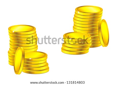 Columns of golden coins for business, saving or wealth concept design. Vector version also available in gallery