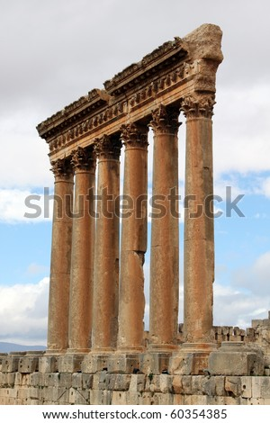 Columns of roman temple in Baalbeck, Lebanon