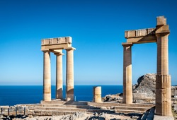 Columns of the ancient Lindos, Rhodes Greece