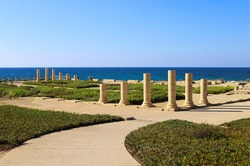 Columns of the ancient Roman Villa on the Mediterranean coast in Caesarea, Israel