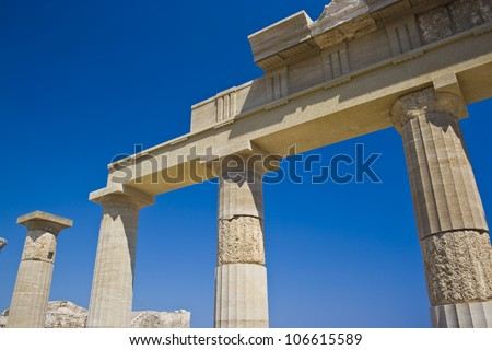 Columns of the ancient temple, acropolis of Lindos, Rhodes, Greece