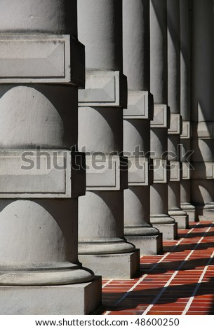 Columns of the Parliament building in Victoria, B.C.