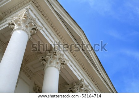 Columns on blue sky background