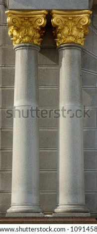 Columns with gold capitals