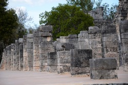 Colums from the Temple of a Thousand Warriors, Chichen Itza, Mexico.