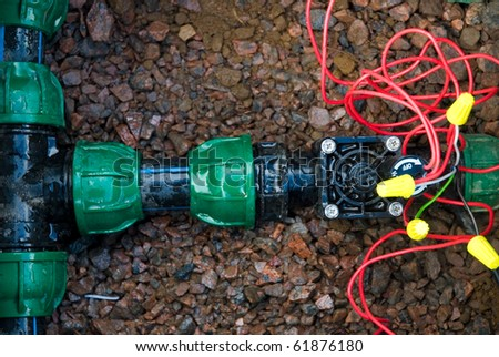 comb solenoid valves of automatic irrigation - stock photo