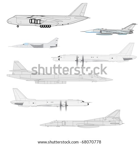 Combat aircraft. Team. Colored  illustration for designers