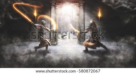 Stock Photo Combat between two fantasy samurai