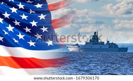 Combat duty of an American ship. A warship sails on the background of the American flag. us Navy. American Navy. Participation in armed conflicts on the water. Protecting America's water borders. stock photo